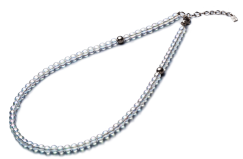 チタン水晶ネックレス(5mm玉) 50cm
